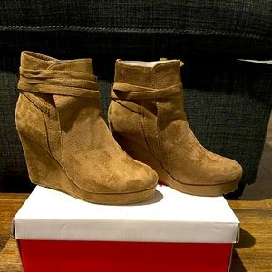 JustFab Faux suede Bootie with a covered wedge.